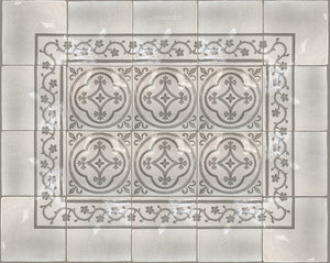 Carriage House English Encaustic Tile Collection - Oak Leaf Corner, Oak Leaf Border and English Rose on Vintage Warm White