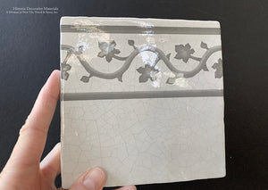 Carriage House English Encaustic Tile Collection - Oak Leaf Border on Vintage Warm White