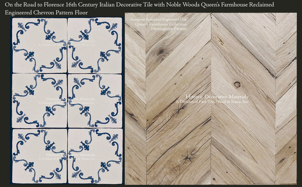 On the Road to Florence 16th Century Italian Decorative Tile with Queen's Farmhouse 200 Year Old Oak Chevron Pattern Floor