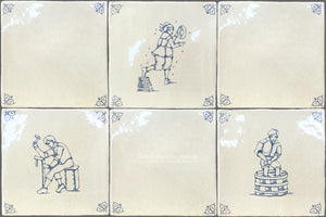 Dutch Blue 17th Century Antiqued Delft Tile Village Life:  Set of 5 Delft Tiles