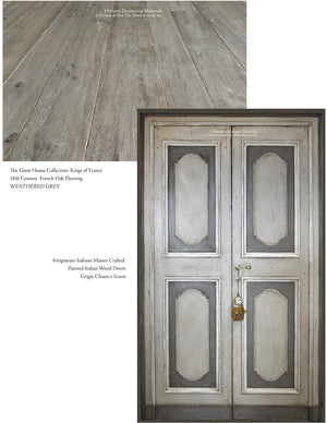 Master Crafted Antiqued Solid Wood Doors: Gris Foncé et Clair + Kings of France French Oak Floors