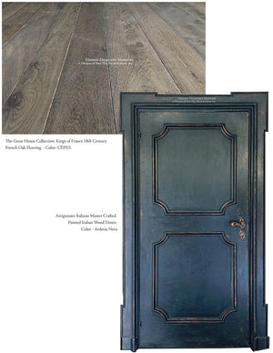 Master Crafted Antiqued Solid Wood Doors: Bleu Noir + Kings of France French Oak Floors