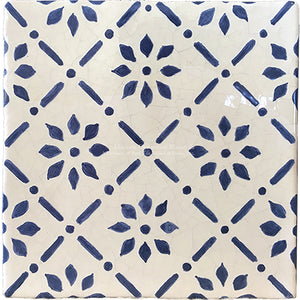 Cuisine de Monet Blue and White French Tile - Petals