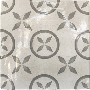 Carriage House English Encaustic Tile Collection - Pinwheel on Vintage Warm White