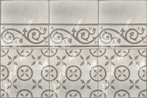 Carriage House English Encaustic Tile Collection - Pinwheel & Scroll Border on Vintage Warm White