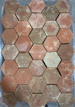 Classic Red and Brown French Reclaimed Terra Cotta Tile Hexagon