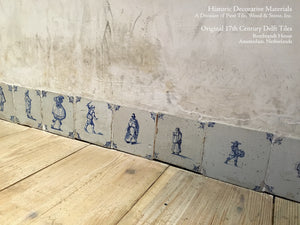 Antique Delft Tile Baseboard in Rembrandt's House, Amsterdam
