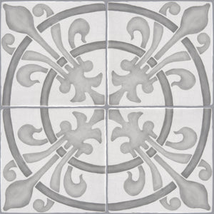 "French Encaustic Decorative Wall Tile ""Rosace: Fleur de Lys"""