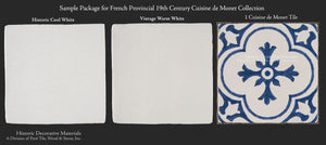 Blue and White Cuisine de Monet Decorative Wall Tile for Kitchens, Bath and Fireplace Surround Tile