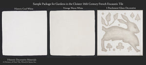 Gardens in the Cloister French Encaustic Decorative Wall Tile Sample Package - Stone Glaze