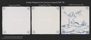 17th Century Blue and White Delft Tile Sample Package - Sea Creatures