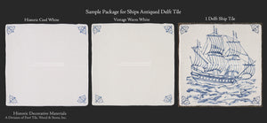 Dutch Blue 17th Century Antiqued Delft Tile Ships