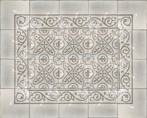 Carriage House English Encaustic Tile Collection - Scroll Border, Scroll Corner and King's Armor on Vintage Warm White