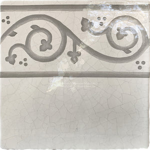 Carriage House English Encaustic Tile Collection - Scroll Border on Vintage Warm White