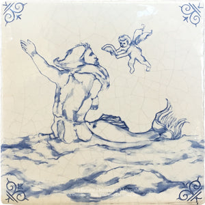 Antiqued Delft Tile - The Conversation on Vintage Warm White Field