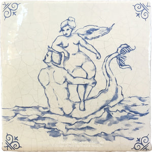 Antiqued Delft Tile - The Couple on Vintage Warm White Field