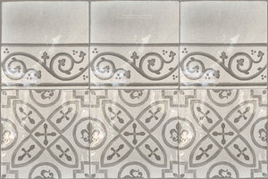 Carriage House English Encaustic Tile Collection - King's Medallion & Scroll Border on Vintage Warm White