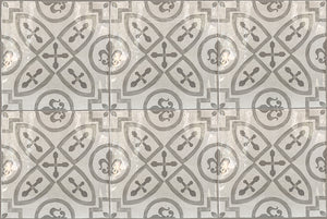 Carriage House English Encaustic Tile Collection - King's Medallion on Vintage Warm White