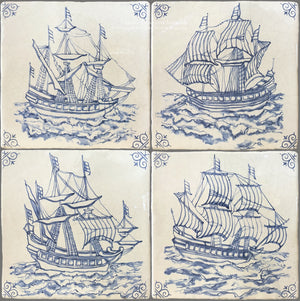 Antiqued Delft Tile Set of 4 Ships on Vintage Warm White Field Tile