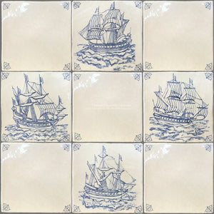 Antiqued Delft Tile Ships + Oxtail Corner Tiles on Vintage Warm White Field Tile