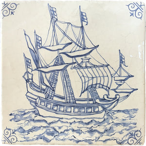 Antiqued Delft Tile - Blue Seas on Vintage Warm White Field