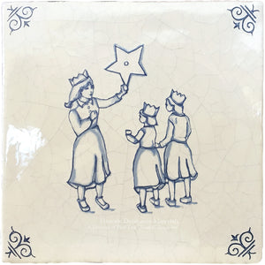 Antiqued Delft Tile - The Star on Vintage Warm White Field