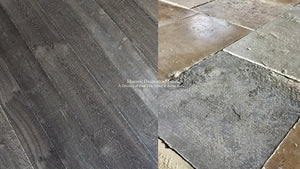 Kings of France 18th Century French Oak Floors in Charcoal with Antique Dalle de Bourgogne French Limestone