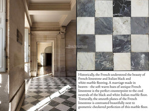Antique Italian Black and White Nero & Bianco Carrara Marble Checkered Stone Flooring + French Limestone
