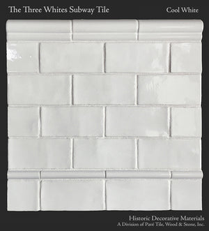 Historic Decorative Materials Three Whites Subway Tile in Cool White