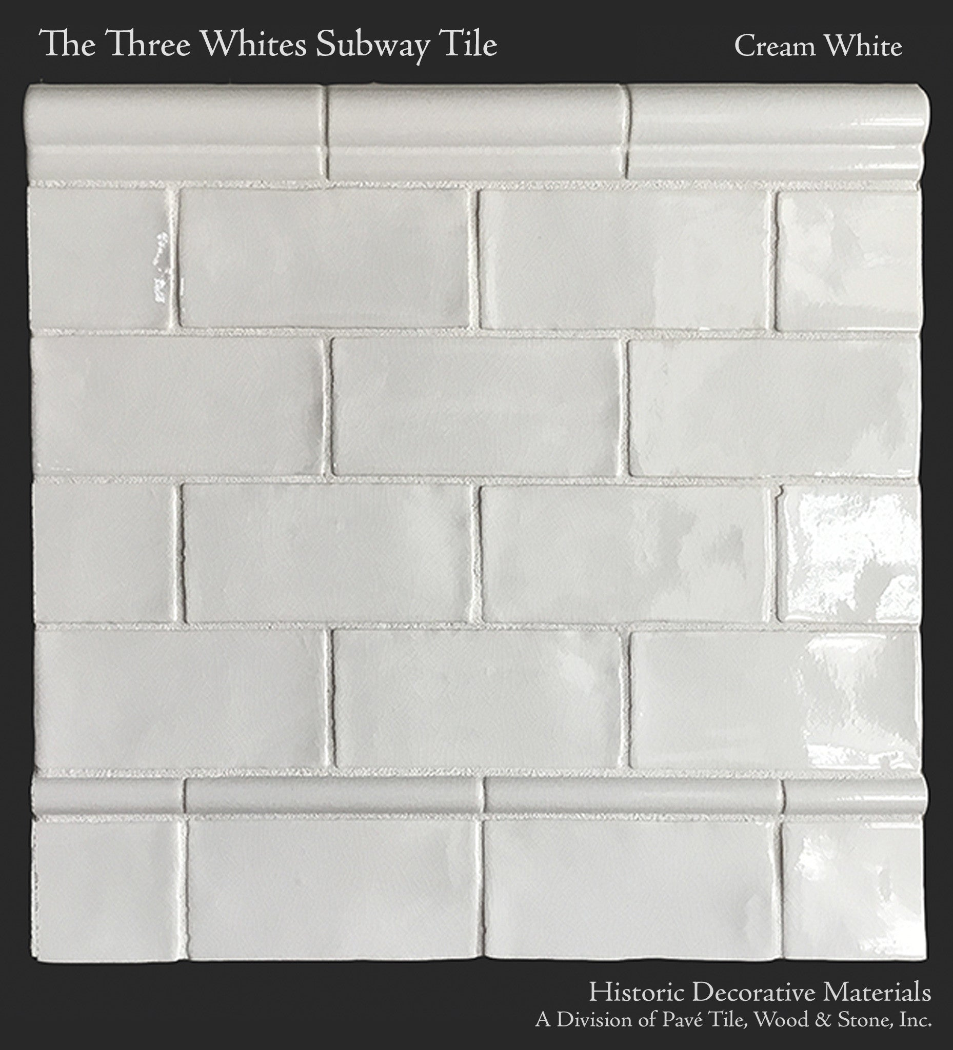 "Three Whites Ceramic Glazed 3"" X 6"" Subway Tile And"