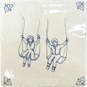 Antiqued Delft Tile - The Swings on Vintage Warm White Field