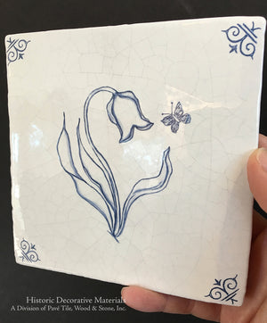 Antiqued Delft Tile Tulip