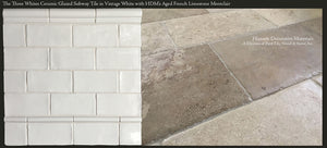"Three Whites Glazed Ceramic 3"" x 6"" Subway Tile in Vintage White paired with Aged French Limestone Montclair"