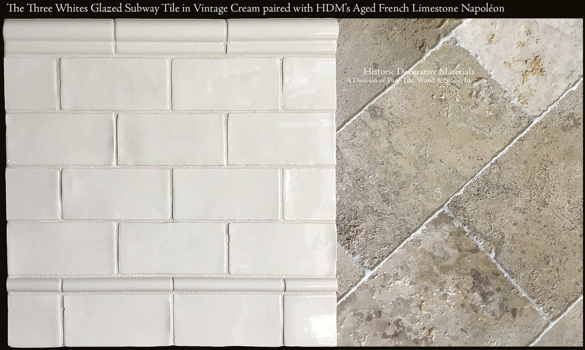 Ceramic glazed 3 x 6 subway tiles for kitchen back splash and three whites subway tile in vintage white beautifully paired with aged french limestone napoleon dailygadgetfo Images