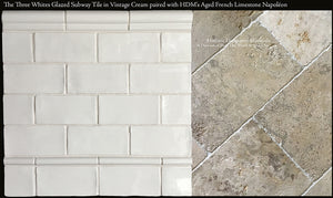 Three Whites Subway Tile in Vintage White Beautifully Paired with Aged French Limestone Napoleon.