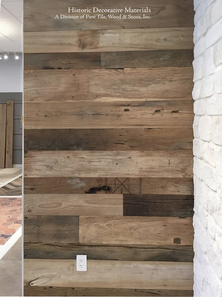 Noble Wood's King's Joiner Collection Reclaimed Engineered Mixed Width Wall Cladding Planks