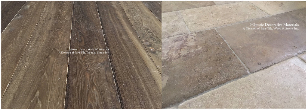 Kings of France 18th Century French Oak Floors in Walnut with Montclair Aged French Limestone Flooring