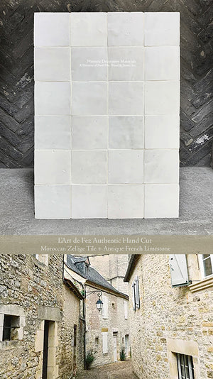 Soft Powder White Zellige Tile + Antique French Limestone
