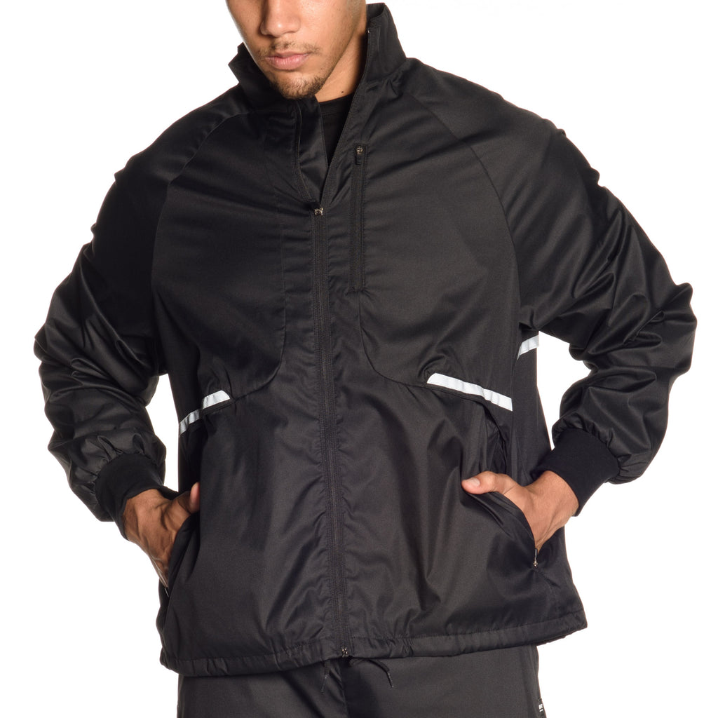 Waterproof Mock-Neck Nylon Jacket with reflective taping