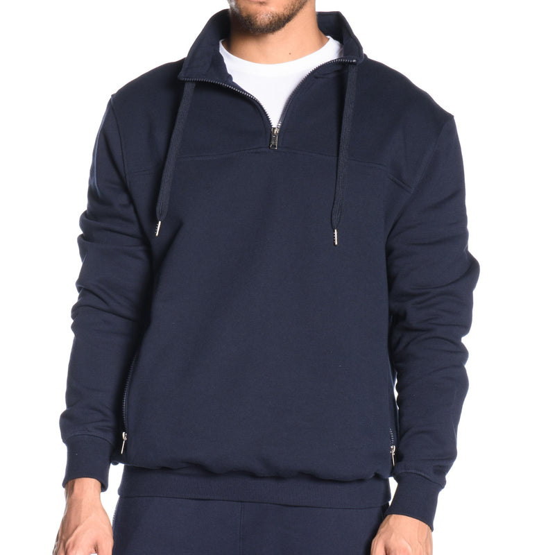 French Terry 1/4 Zip Mock Neck Sweatshirt