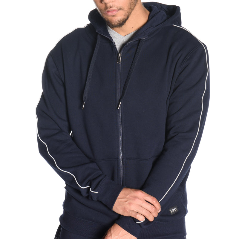 French Terry Full Zip Hoodie with Reflective Piping
