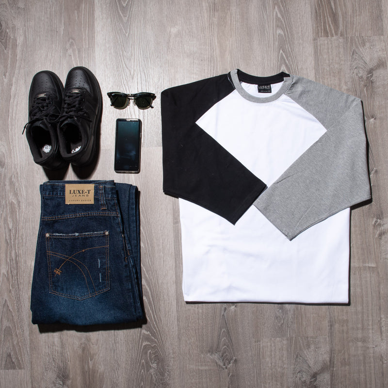 3/4 Sleeve Color Block Raglan T-Shirt