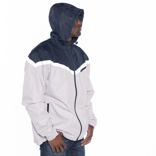 Color Block Nylon Hooded Jacket