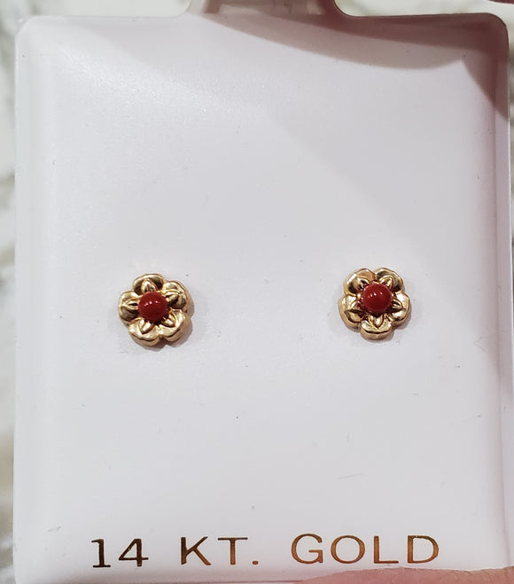14 KT Decorative trim flower with coral bead center 2mm  with 4mm. width of flower screw back earrings made in spain gift box included