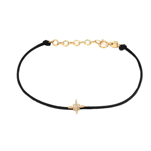 14 KT Diamond Cord Star Bracelet