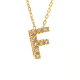14KT Station Diamond Letter Necklace