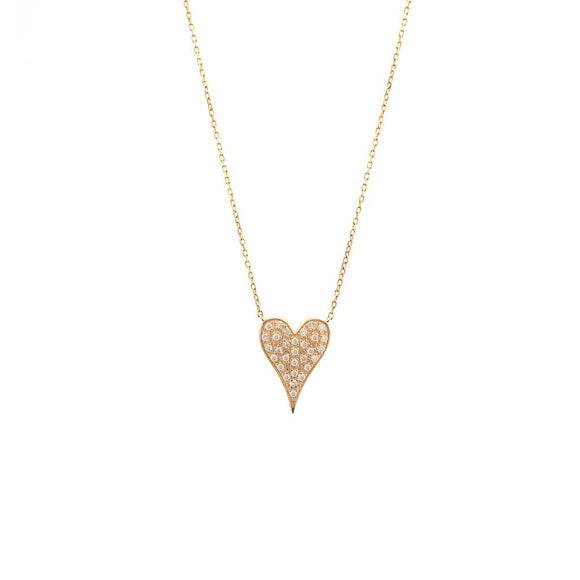 14 KT Happy Pave Heart Set Diamond Necklace