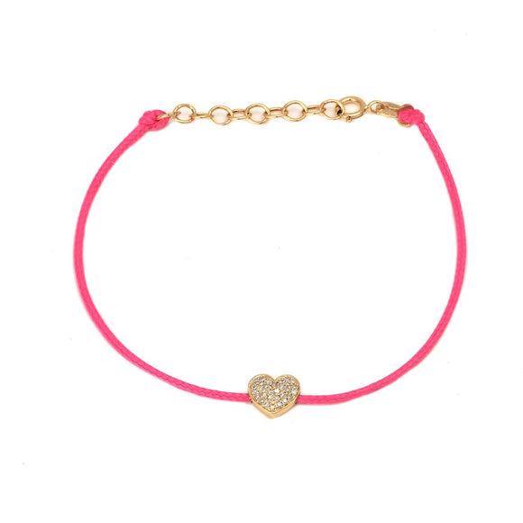 14 KT Diamond Cord Heart Bracelet