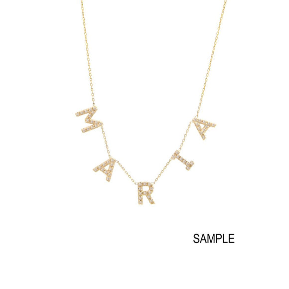 14KT Diamond Multiple Letter Station Necklace