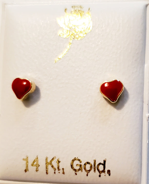 14 KT Enamel baby heart earrings red or pink 4mm. wide